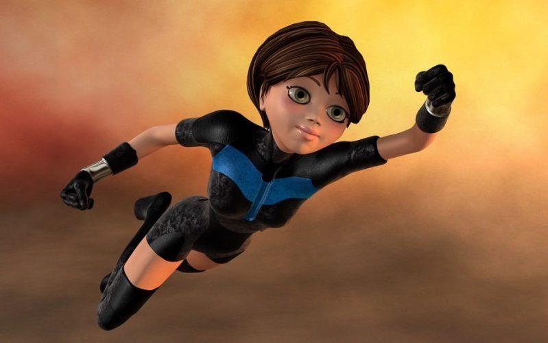 dibujo de una superheroína