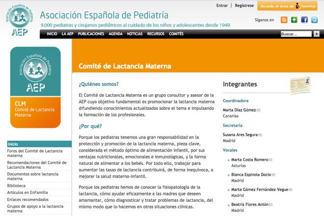 Web Comité de Lactancia Materna de la AEP